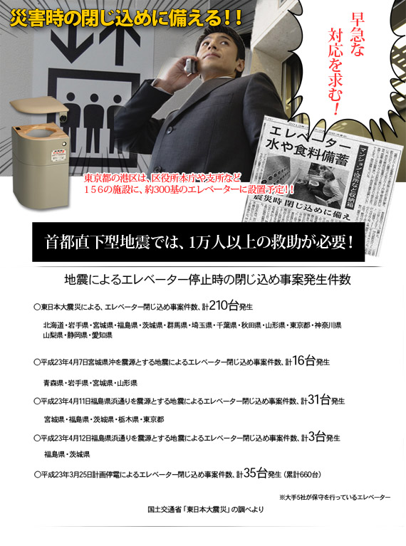 地震によるエレベーター停止時の閉じ込め事故発生件数